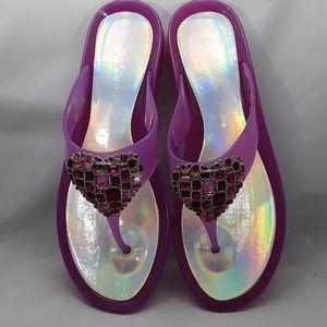 BCBGeneration Shoes - BCBGeneration Pink Jelly Bejeweled Thong Sandal